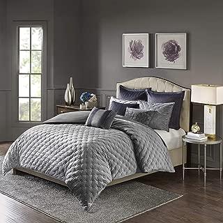 MADISON PARK SIGNATURE Sophisticate 8 Piece Velvet Comforter Set Bedding, King Size, Grey