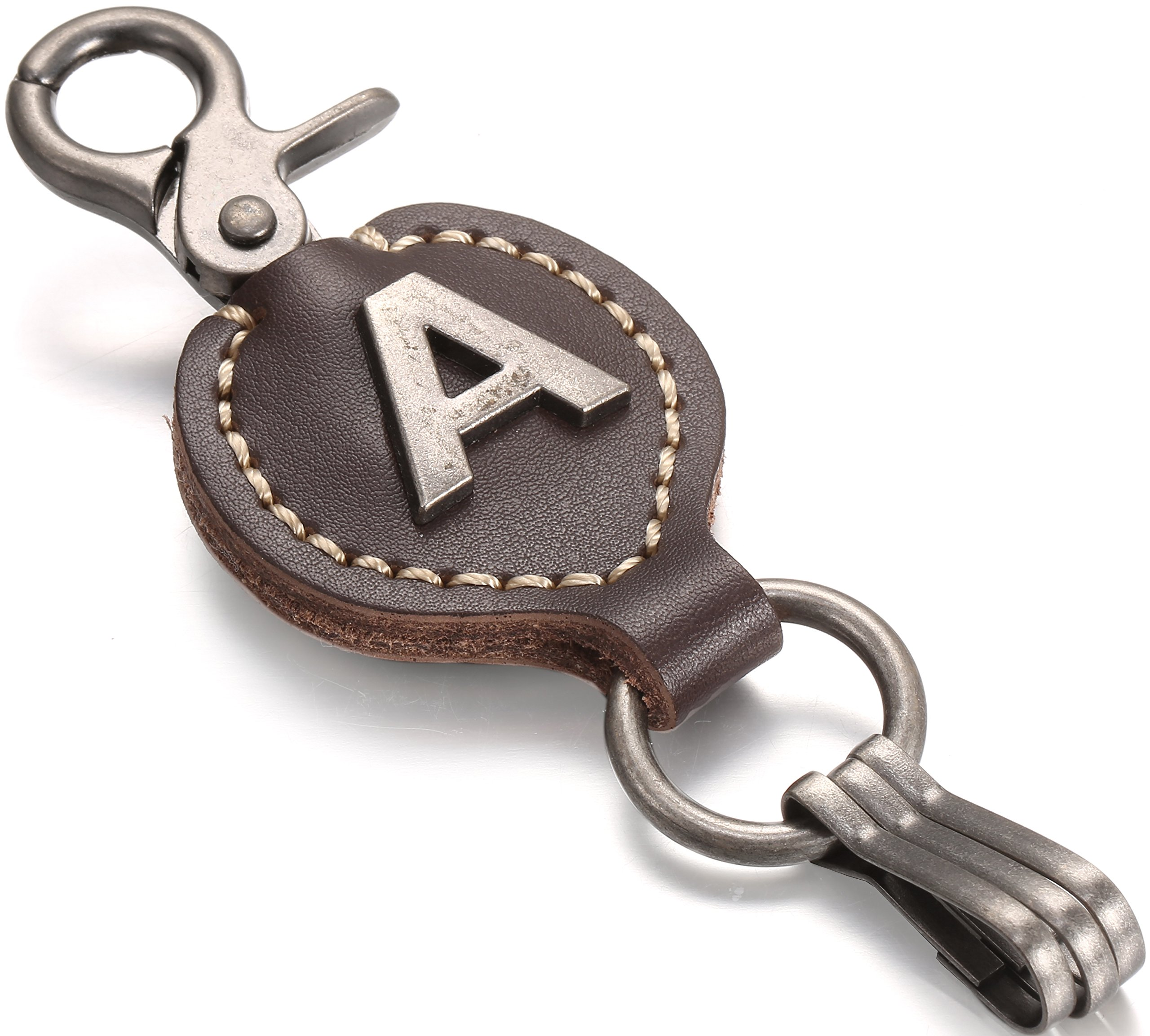Mens Women Personalized Initial Monogram Letter Leather Key Fob Keychain BrownBeans BBKC11000 W