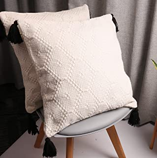 HiiARug Woven Decorative Throw Pillow Covers for Couch, Sofa,Nook or Bed 2-Pack 20 x 20 Inch Modern Quality Design 100% Cotton Woven with Tassels Thick Machine Washable(20