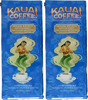 Kauai Coffee, Koloa Estate Medium Roast, Ground Coffee, 10oz Bag (Pack of 2)