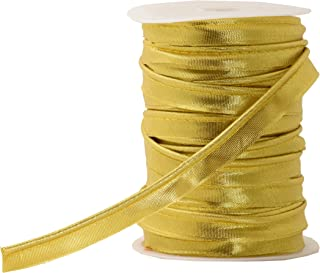 Mandala Crafts Maxi Piping Trim, Single Fold Bias Tape, Welting Cord from Cotton Polyester for Sewing, Trimming, Upholstery (Metallic Gold, 2.5mm 0.5 inch 55 Yards)