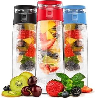 Vremi 24 Oz Fruit Infused Water Bottle - BPA Free Sports Water Bottle with Fruit Infuser Filter and Flip Top Lid Cap - Large Tritan Plastic Eco Drinking Clear Reusable Travel Water Bottles