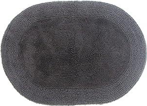Grund Puro Series 100% Organic Cotton Reversible Bath Rug 17-inch by 24-inch Oval Graphite