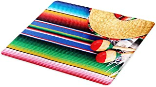 Lunarable Mexican Cutting Board, Mexican Culture Theme with Sombrero Straw Hat Maracas Serape Blanket Rug Picture, Decorative Tempered Glass Cutting and Serving Board, Large Size, Red Ivory