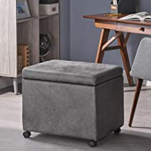 Christopher Knight Home Tina Traditional Microfiber Storage Ottoman for Home or Office, Slate