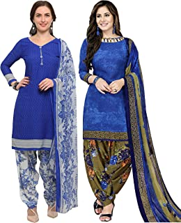 Rajnandini Women's Blue Crepe Printed Unstitched Salwar Suit Material (Combo Of 2) (Free Size)