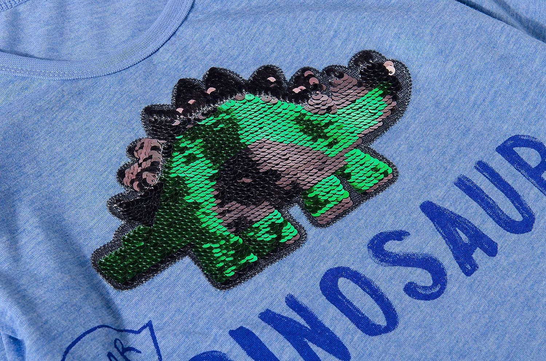 Little Kids Boys Dinosaur Flip Sequins Shirt Cotton Short Sleeve T-Shirts T-Rex Tee Tops for Toddler