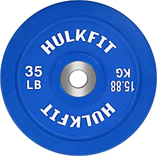 HulkFit Color Coded Olympic 2-Inch Rubber Bumper Plate with Steel Hub for Strength Training, Weightlifting and Crossfit, Single, Pair or Set