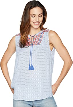 Textured Crepe Sleeveless Embroidered Top