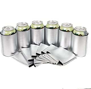 QualityPerfection - Neoprene Can Cooler Sleeve - 12 oz Regular Can Coolie - Collapsible Economy Bulk Insulation with Stitches Perfect 4 Events,Custom DIY Projects (6, Metallic Silver)