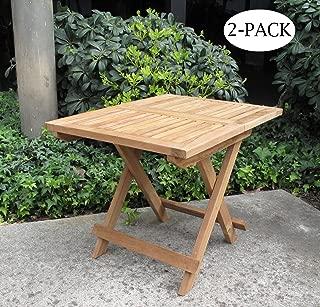 Urban Design Furnishings Folding Teak End Side Table 2-Pack
