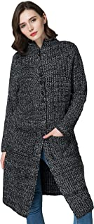 KUBITU Women's Casual Button Front Long Sleeved Chunky Knit Plus Size Sweater Cardigan Outwear with Pocket