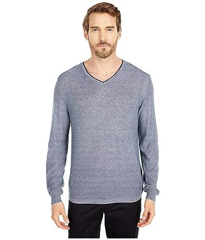 BUGATCHI Filipo Long Sleeve Sweater V-Neck (Navy) Men