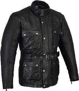 Biker Gear Klassische Vintage Trail Blazer CE1621 1 PU Rüstung Motorrad Gewachste & geölte Alter behandelt Lederjacke   Black  4XL