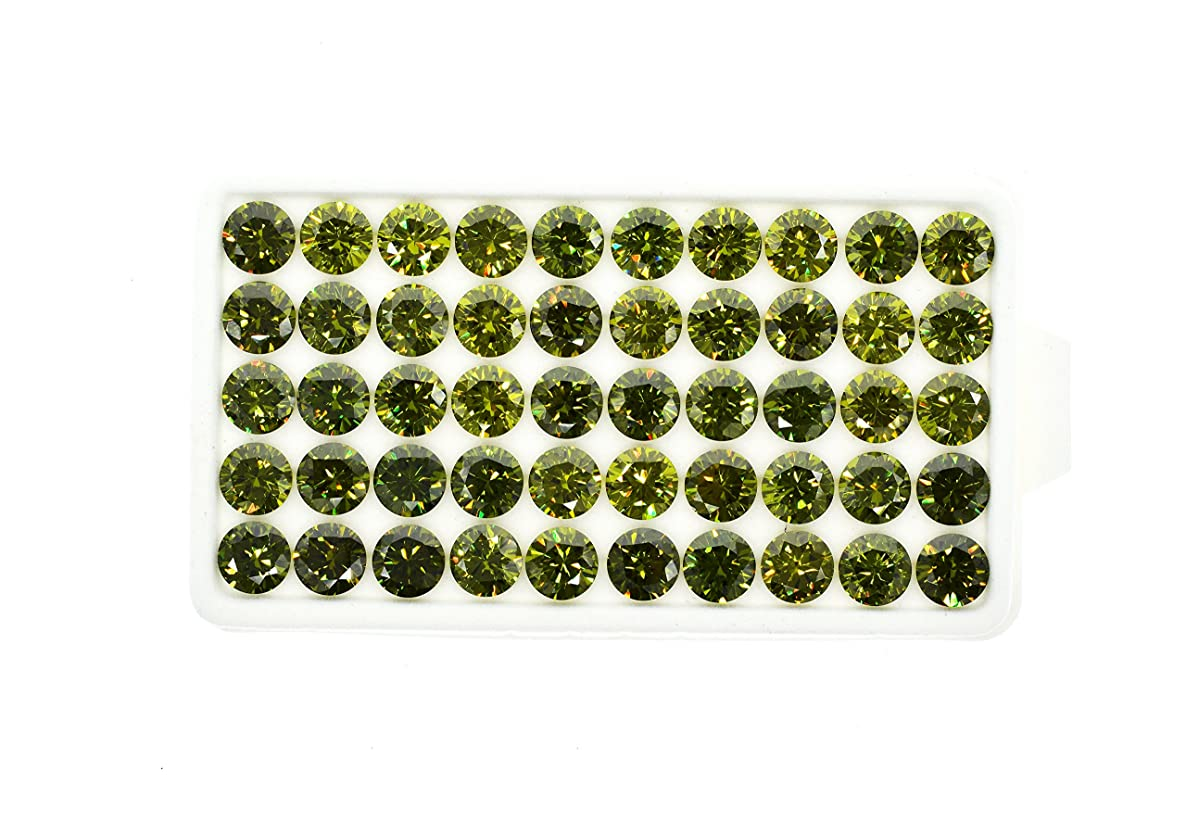 Alone Moon colour cubic zirconia loose gemstones Round Europe Machine Cut 1.0-6.0mm High temperature wax setting for Jewelry making (10.0mm, Olive green)