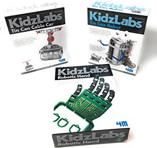 KidzLabs Robot Toys Science Experiments for Kids, Tin Can Robot, Robotic Hand, Tin Can Cable Car - Science Kits for Kids - Robot - Robotics for Kids 4M & MTGS