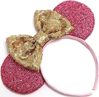 Pink Mickey Ears, Handmade Sleeping Beauty Inspired Mouse Ears Headband Rose Gold Minnie Ears One Size Fits All