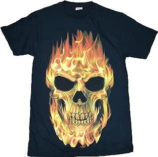 Flaming Skull Black Graphic T-Shirt