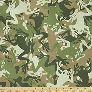 Ambesonne Animal Fabric by The Yard, Skull Camouflage Design Various Frog Pattern Different Tones Art Print, Microfiber Fa...