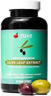 Yuve Mediterranean Olive Leaf Extract 750mg - 20% Non-GMO Oleuropein - Cardiovascular Health & Immune Support - Helps Reju...