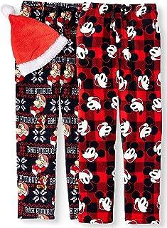 Disney Men's Grumpy and Mickey 2-Pack Pajama Pants with Santa Hat, Small