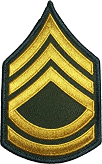 Ranger Return U.S. Army Sergeant E-7 First Class Rank Stripe Army Uniform Chevron Sew on Iron on Arm Shoulder Embroidered Applique Patch - Gold on Green