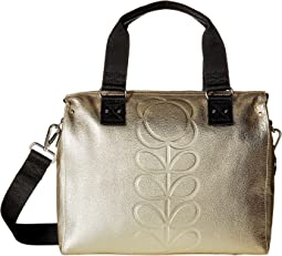 Embossed Flower Stem Leather Zip Messenger