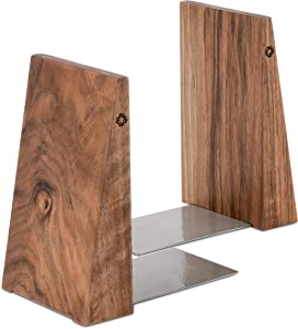 TILISMA Handmade Wooden Book Ends - Decorative Bookends for Shelves - Sturdy Book Holders for Heavy Books - Walnut Tree