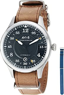 AVI-8 Men's 'Hawker Hurricane' Japanese Automatic Stainless Steel and Leather Casual Watch, Color:Brown (Model: AV-4046-01)