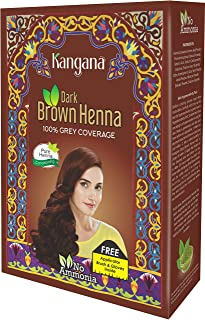 Kangana Henna Powder for Hair Dye/Colour - Dark Brown Henna Powder for 100% Grey Coverage - 6 pouches inside- Total 60g (2...