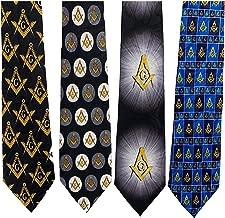 Mason Compass Mens Necktie Fraternal Order Square Masonic Gift Blue Neck Tie