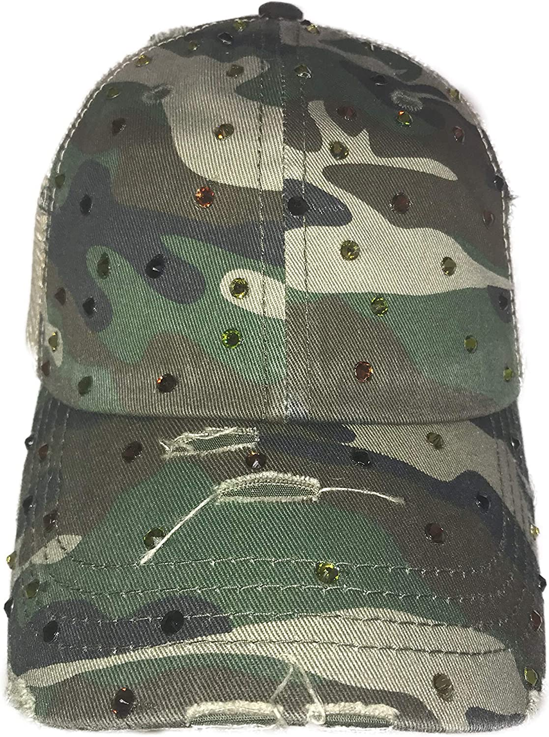 Blinging for Tipps Camo Ponytail Hat with Swarovski Crystals