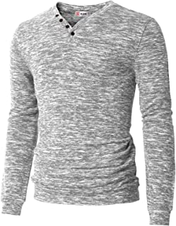Mens Casual Slim Fit Henley T-Shirts Long Sleeve Knitted Tops of Various Styles