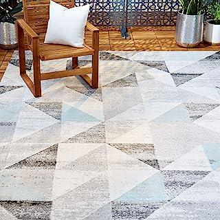 "Sponsored Ad - Home Dynamix 4101-705 Nicole Miller Patio Sofia Holly Indoor/Outdoor Area Rug 5`3""x7`2"", Geometric Gray/Blue"
