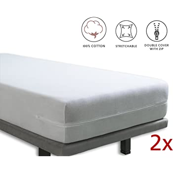 Tural – Funda de colchón elástica con cremallera. Rizo 100% Algodón. Pack de 2. Talla 90x190/200cm: Amazon.es: Hogar