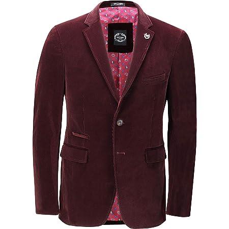Xposed Mens Soft Corduroy Blazer Coat Vintage Retro Tailored Suit Jacket UK[BLZ-MATTHEW-MAROON-48,Blazer-Maroon,Chest UK/US 48 EU 58]
