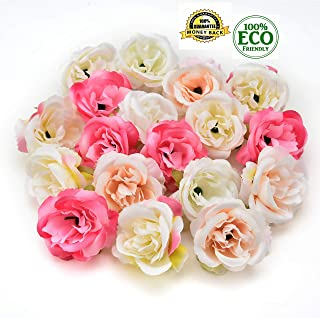 silk flowers in bulk wholesale Fake Flowers Heads Mini Rose Fabric Artificial Flowers Wedding Party Home Interior Decoration Party Shoes Hat Accessories Silk Flowers 30pcs 4cm (Multicolor)