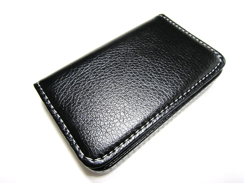 (カモミル) KAMOMIRU 選べる 7色 名刺入れ カードケース ビジネス カラフル 黒 赤 濃茶 薄茶 黄色 ピンク オレンジ (黒)