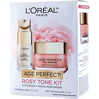 L'Oreal Paris Skin Care Giftable Kit with Age Perfect Rosy Tone Face Moisturizer & Eye Renewal Eye Cream, 1 Kit