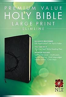 Premium Value Slimline Bible Large Print NLT, Crown (LeatherLike, Onyx)