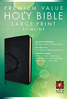 Premium Value Slimline Bible Large Print NLT, Crown (LeatherLike, Onyx)