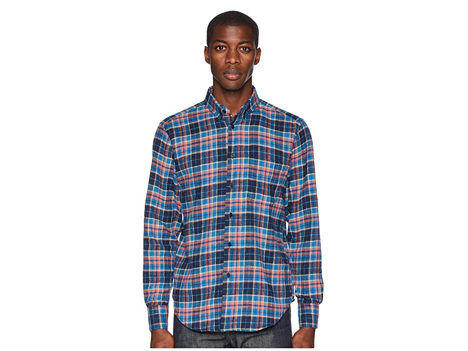 Naked & Famous Easy Shirt Rustic Nep Flannel (Blue) Men
