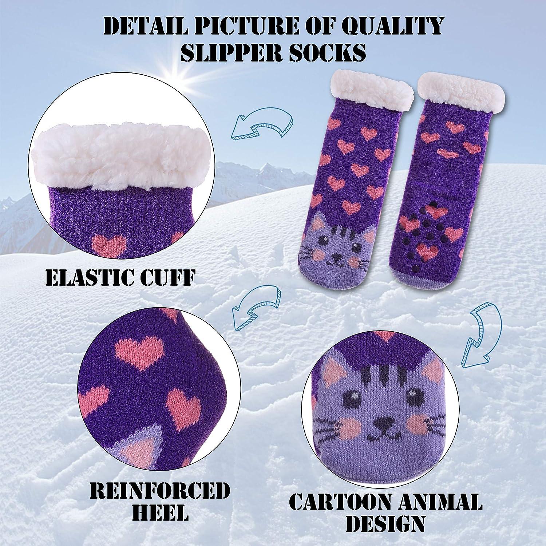 MQELONG Children's Warm Slipper Socks Kids Boys Girls Soft Cozy Thick Winter Indoor Socks