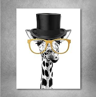 Gold Foil Art Print - Gentleman Giraffe With Gold Foil Glasses 8x10 inches