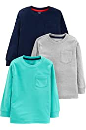 Toddler Boys' 3-Pack Solid Pocket Long-Sleeve Tee Shirts