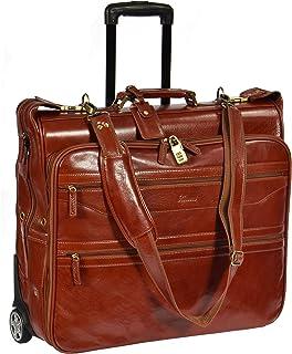 Leather Suit Carrier on Wheels Travel Weekend Garment Bag HOL13 Cognac