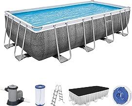 Bestway Power Steel Frame zwembad, 549 x 274 x 122 cm, complete set met filterpomp, hoekig, grijze rotanlook