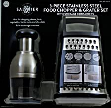Sabatier 3-Piece Stainless Steel Food Chopper & Grater with Storage Containers - Dishwasher Safe