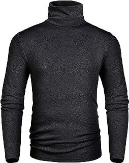 Derminpro Men's Slim Fit Soft Turtleneck Long Sleeve Pullover Thermal T-Shirt