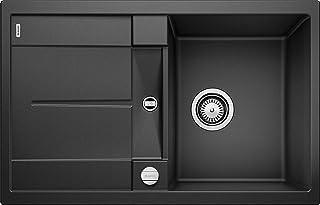 BLANCO METRA 45 S – Rechteckige Granitspüle aus SILGRANIT für die Küche – für 45 cm breite Unterschränke – Mit integrierter Abtropffläche – grau – 513035
